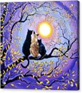 Family Moon Gazing Night Acrylic Print