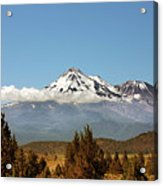 Family Portrait - Mount Shasta And Shastina Northern California Acrylic Print by Christine Till