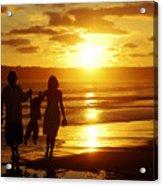Family Walk On Beach Acrylic Print