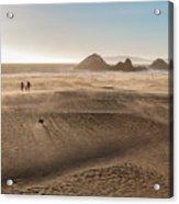 Family Walking On Sand Towards Ocean Acrylic Print