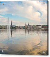 Famous Binnenalster In Hamburg Downtown At Sunset Acrylic Print