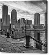 Fan Pier Boston Harbor Bw Acrylic Print