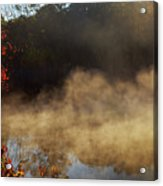 Fantastic Foggy River With Fresh Green Grass In The Sunlight. Acrylic Print