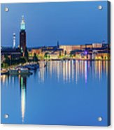 Fantastic Stockholm And Gamla Stan Reflection From A Distant Bridge Acrylic Print