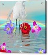 Fantasy Stork-flowers-rainbow On Ocean Acrylic Print