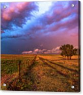Far And Away - Open Prairie Under Colorful Sky In Oklahoma Panhandle Acrylic Print
