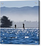 Faraway Paddle Boarders In Morro Bay Acrylic Print by Bill Brennan - Printscapes