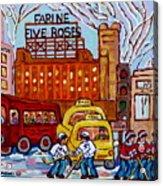Farine Five Roses Montreal 375 Hometown Hockey Hotel Bonaventure Tour Bus Canadian Art C Spandau Art Acrylic Print