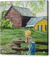Farm Boy Acrylic Print by Charlotte Blanchard