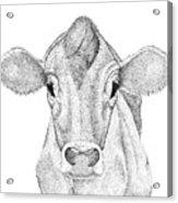 Farm Cow In Pointillism Acrylic Print