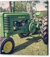 Farm Green Tractor Vintage Style Acrylic Print