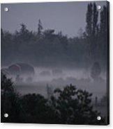 Farm In Fog Acrylic Print
