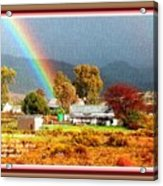 Farm Scene With Rainbow After Some Rains L A With Decorative Ornate Printed Frame. Acrylic Print