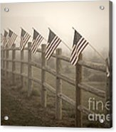 Farm With Fence And American Flags Acrylic Print