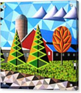 Farm With Three Pines And Cow Acrylic Print