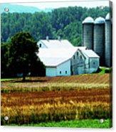 Farm With White Silos Acrylic Print