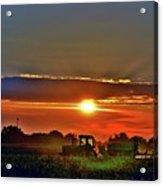 Farmer And A Sunset. Acrylic Print