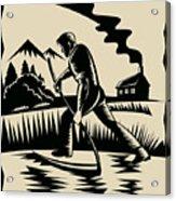 Farmer With Scythe Acrylic Print by Aloysius Patrimonio