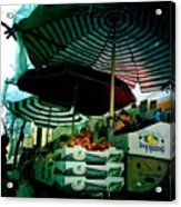 Farmers Market With Striped Umbrellas Acrylic Print