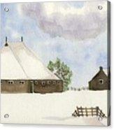 Farmhouse In The Snow Acrylic Print