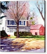 Farmhouse With Red Barn Acrylic Print
