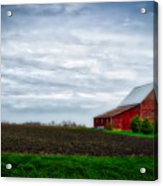 Farming Red Barn On A Quite Spring Day Acrylic Print