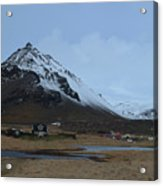 Farms At The Base Of Mt Stapafell In Iceland Acrylic Print