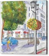 Farola With Flowers In Wilshire Blvd., Beverly Hills, California Acrylic Print