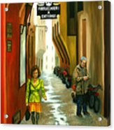 Fashion Alley In Bologna Acrylic Print by Milagros Palmieri