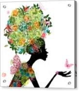 Fashion Girl With Hair Arabesque Acrylic Print