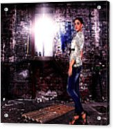Fashion Model In Jeans  Acrylic Print