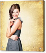 Fashionable Girl In Classic 50s Style Clothing Acrylic Print