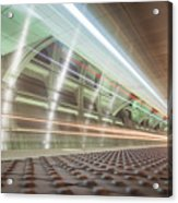 Fast Moving Long Exposure Of Subway Train Underground Tunnel Acrylic Print
