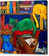 Fat Cats In The Library Acrylic Print