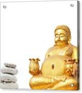 Fat Happy Buddha In Meditation Acrylic Print
