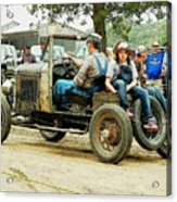 Father And Daughter In The Tractor Parade Acrylic Print