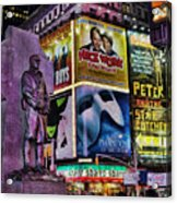 Father Duffy Watching Over Times Square Acrylic Print by Lee Dos Santos