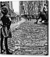 Fearless Girl And Wall Street Bull Statues 3 Bw Acrylic Print
