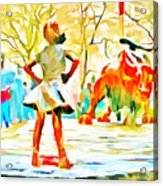 Fearless Girl And Wall Street Bull Statues 6 Watercolor Acrylic Print