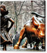 Fearless Girl and Wall Street Bull Statues Acrylic Print