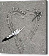 Feather Arrow Through Heart In The Sand Acrylic Print