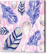 Feathers And Eggs Pattern Acrylic Print