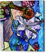 February Still Life Flowers Wine And Orange Acrylic Print