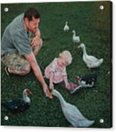 Feeding Ducks With Daddy Acrylic Print