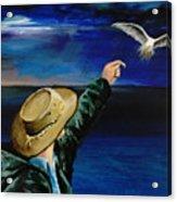 Feeding My Gull Friend Acrylic Print