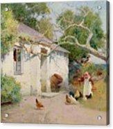 Feeding The Hens Acrylic Print
