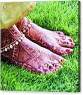 Feet With Mehndi On Grass Acrylic Print by Athul Krishnan (www.athul.in)