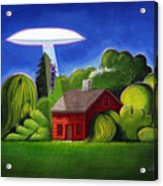 Feline Ufo Abduction Acrylic Print