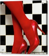 Female Legs In Red Pantyhose And Shoes On High Heels On A Background Acrylic Print