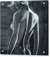 Female Nude Black And Grey Acrylic Print